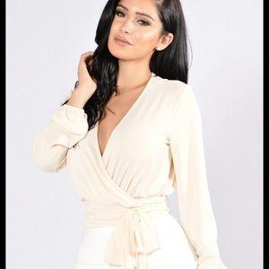 Fashion Nova Little White Lies Wrap Top